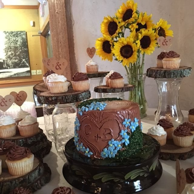 Cake, Cupcakes, and Sunflowers