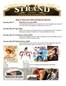 Vincente Minnelli - The Strand Theatre - Century of Cinema - Minnelli Movie Series - Delaware County Historical Society - Delaware Ohio